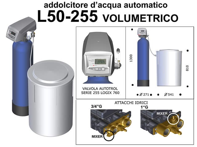 Addolcitore d 39 acqua automatico da 50 litri volumetrico addolcitori d 39 acqua biolav - Addolcitore acqua casa ...
